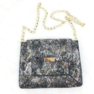 HENRY BENDEL snakeskin leather Geo Chain handbag